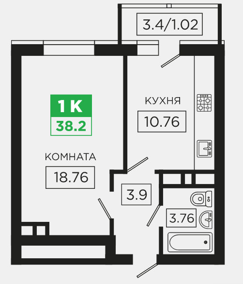 Планировки Купить 1-к квартиру район ГМР | Гидростростроителей ЖК Трилогия Краснодар | план - 4