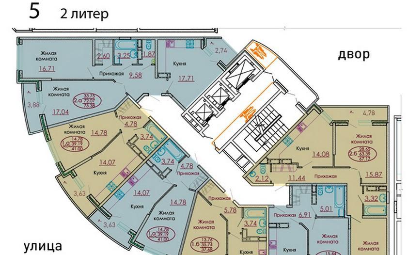 Планировки ЖК Москва, лит. 2 Краснодар | план - 4