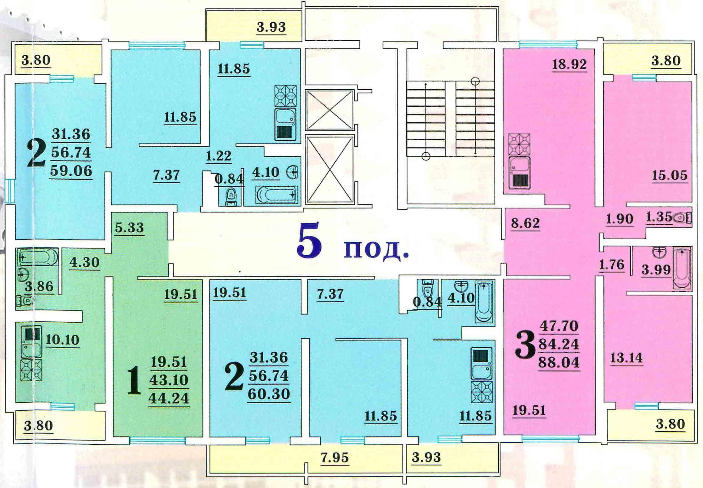 Планировки Мкр. Восточно-Кругликовский, литер 7 Краснодар | план - 2