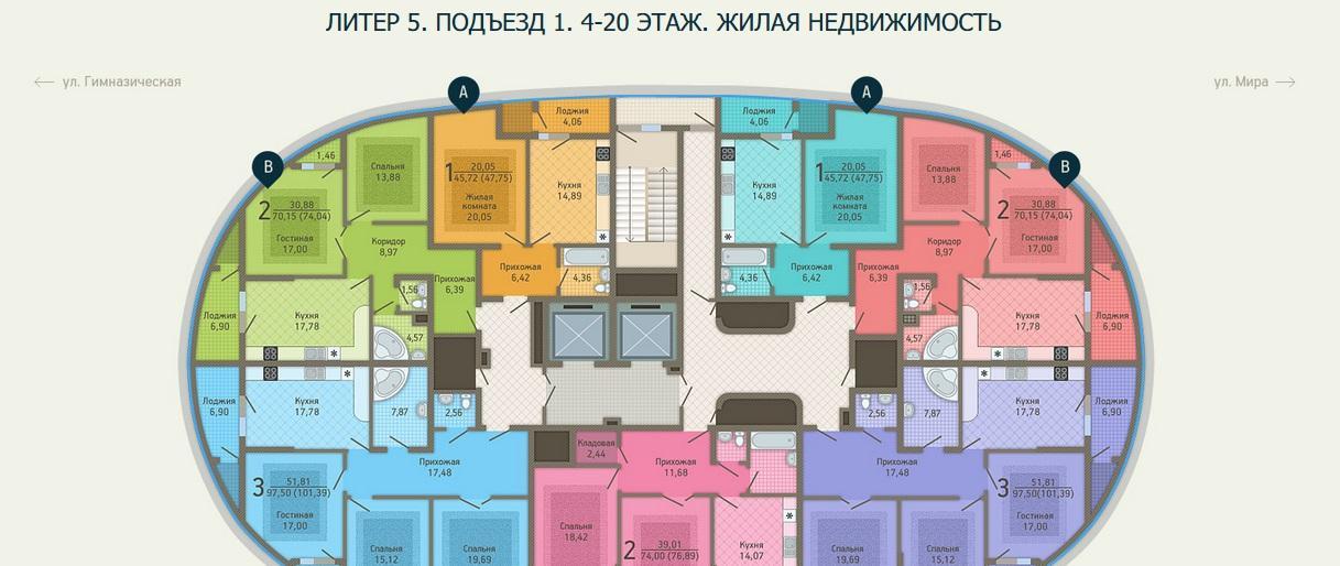 Планировки ЖК Адмирал, лит. 5 Краснодар | план - 1