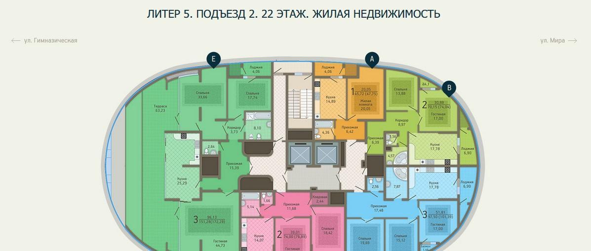 Планировки ЖК Адмирал, лит. 5 Краснодар | план - 4