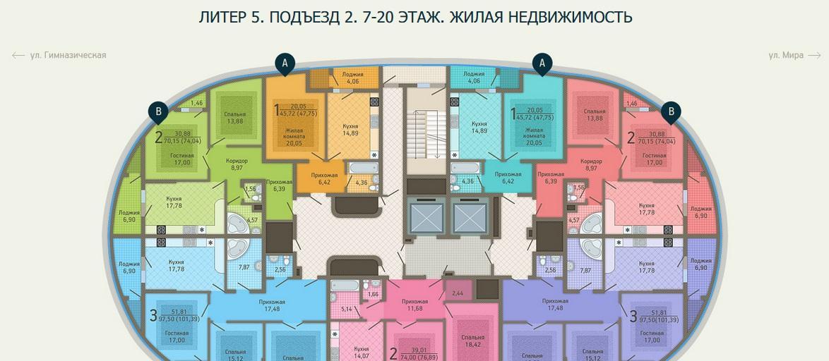 Планировки ЖК Адмирал, лит. 5 Краснодар | план - 5