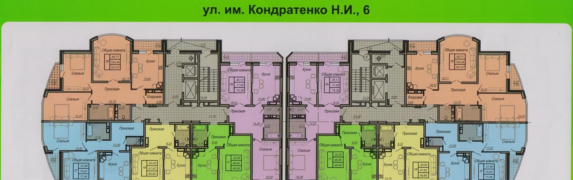 Планировки ЖК им. Кондратенко Н.И., 6 Краснодар | план - 1