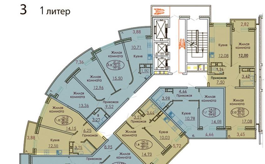 Планировки ЖК Москва, лит. 1 Краснодар | план - 3