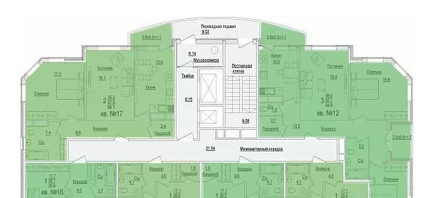 Планировки ЖК Солнечный город, литеры 3 Краснодар | план - 1