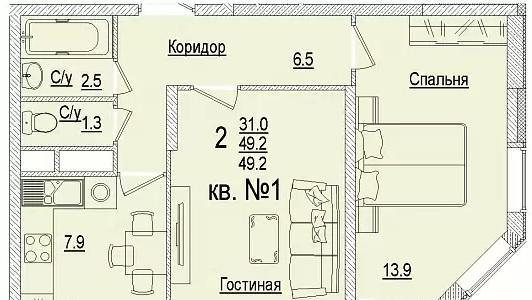 Планировки ЖК Солнечный город, литеры 3 Краснодар | план - 2