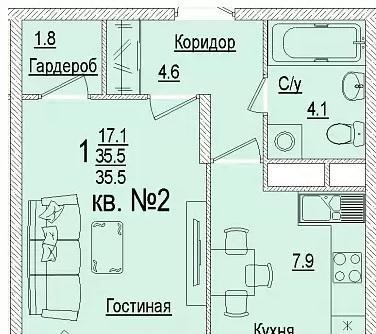 Планировки ЖК Солнечный город, литеры 3 Краснодар | план - 5