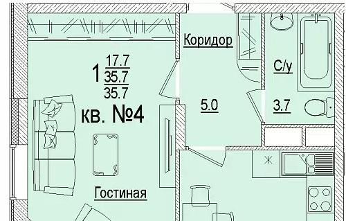 Планировки ЖК Солнечный город, литеры 3 Краснодар | план - 6