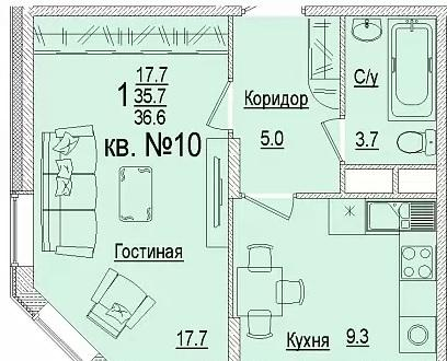 Планировки ЖК Солнечный город, литеры 3 Краснодар | план - 7