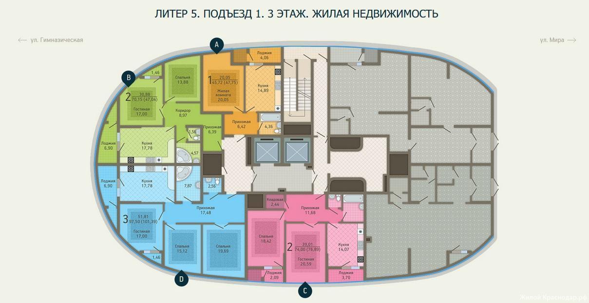 Планировки ЖК Адмирал, литер 5 Краснодар | план - 1