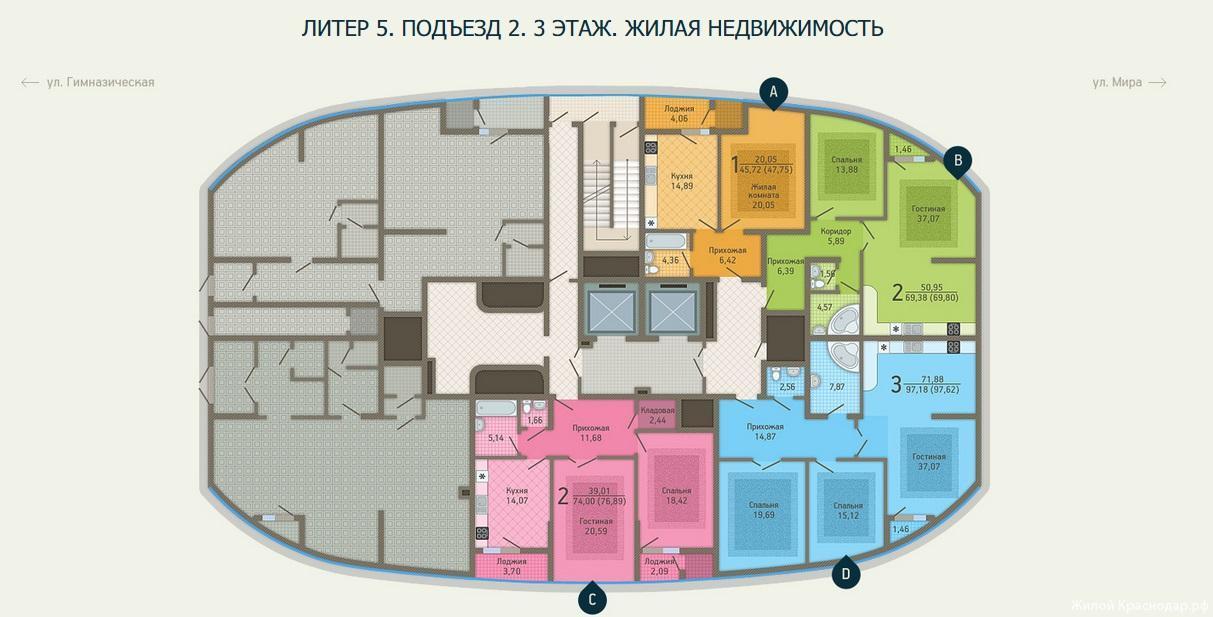 Планировки ЖК Адмирал, литер 5 Краснодар | план - 2