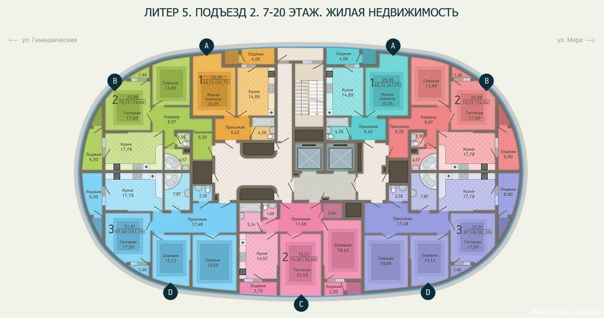 Планировки ЖК Адмирал, литер 5 Краснодар | план - 3