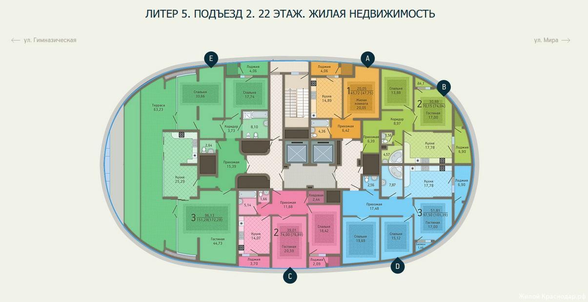 Планировки ЖК Адмирал, литер 5 Краснодар | план - 5
