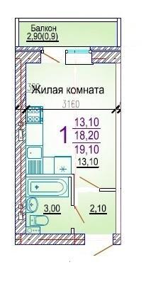 Планировки ЖК Добрый, литер 5 Краснодар | план - 1