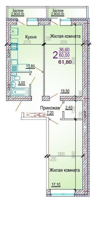 Планировки ЖК Добрый, литер 5 Краснодар | план - 6
