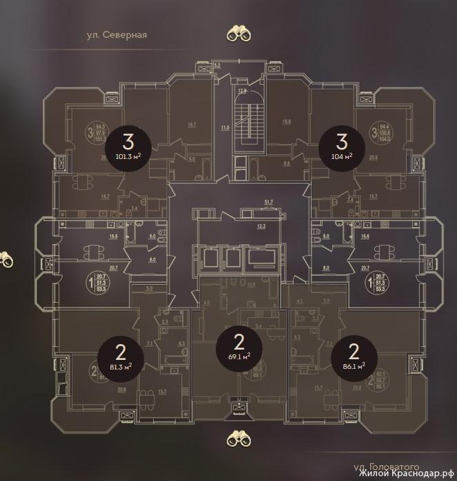 Планировки ЖК Дом на Березанской Краснодар | план - 1