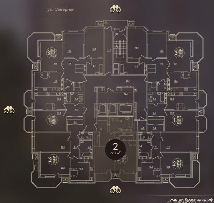 Планировки ЖК Дом на Березанской Краснодар | план - 2