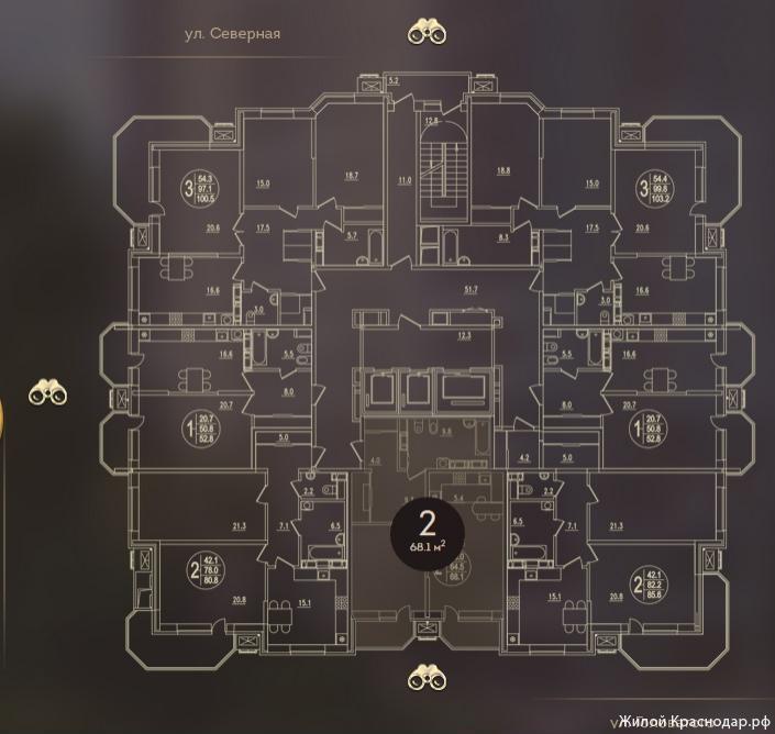 Планировки ЖК Дом на Березанской Краснодар | план - 3