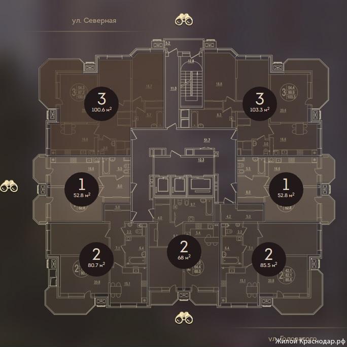Планировки ЖК Дом на Березанской Краснодар | план - 5