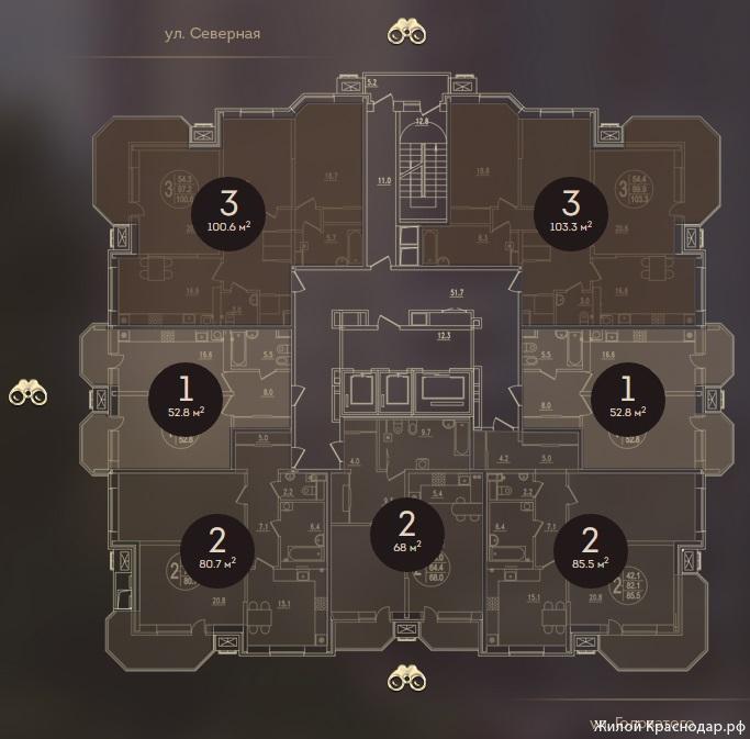 Планировки ЖК Дом на Березанской Краснодар | план - 6