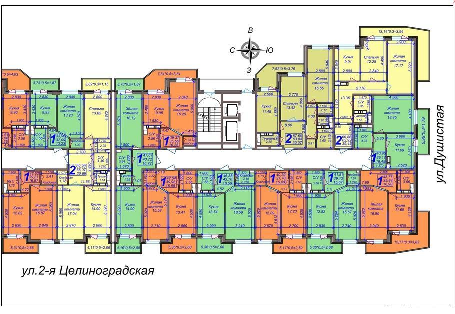 Планировки ЖК Дуэт, литеры 3 и 4 Краснодар | план - 2
