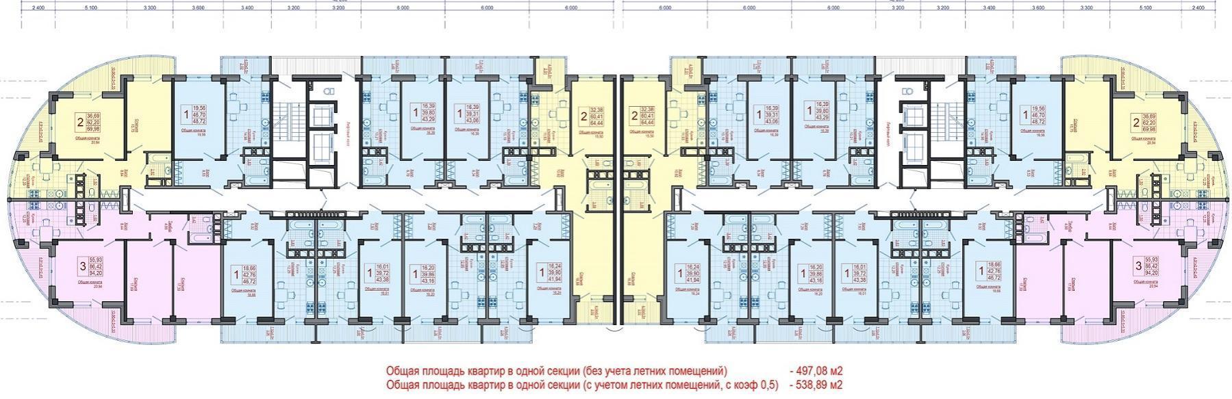 Планировки ЖК Элегант, литер 1 Краснодар | план - 1