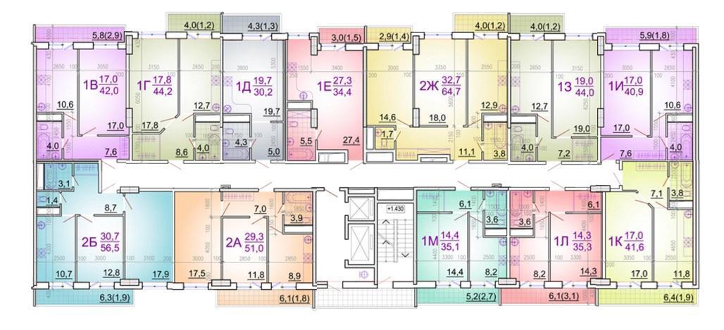 Планировки ЖК Этажи Краснодар | план - 1
