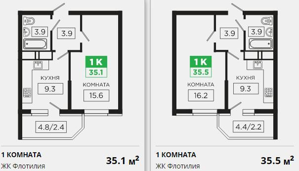 Планировки ЖК Флотилия Краснодар | план - 2