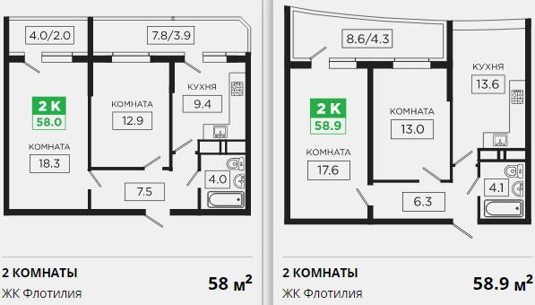 Планировки ЖК Флотилия Краснодар | план - 6