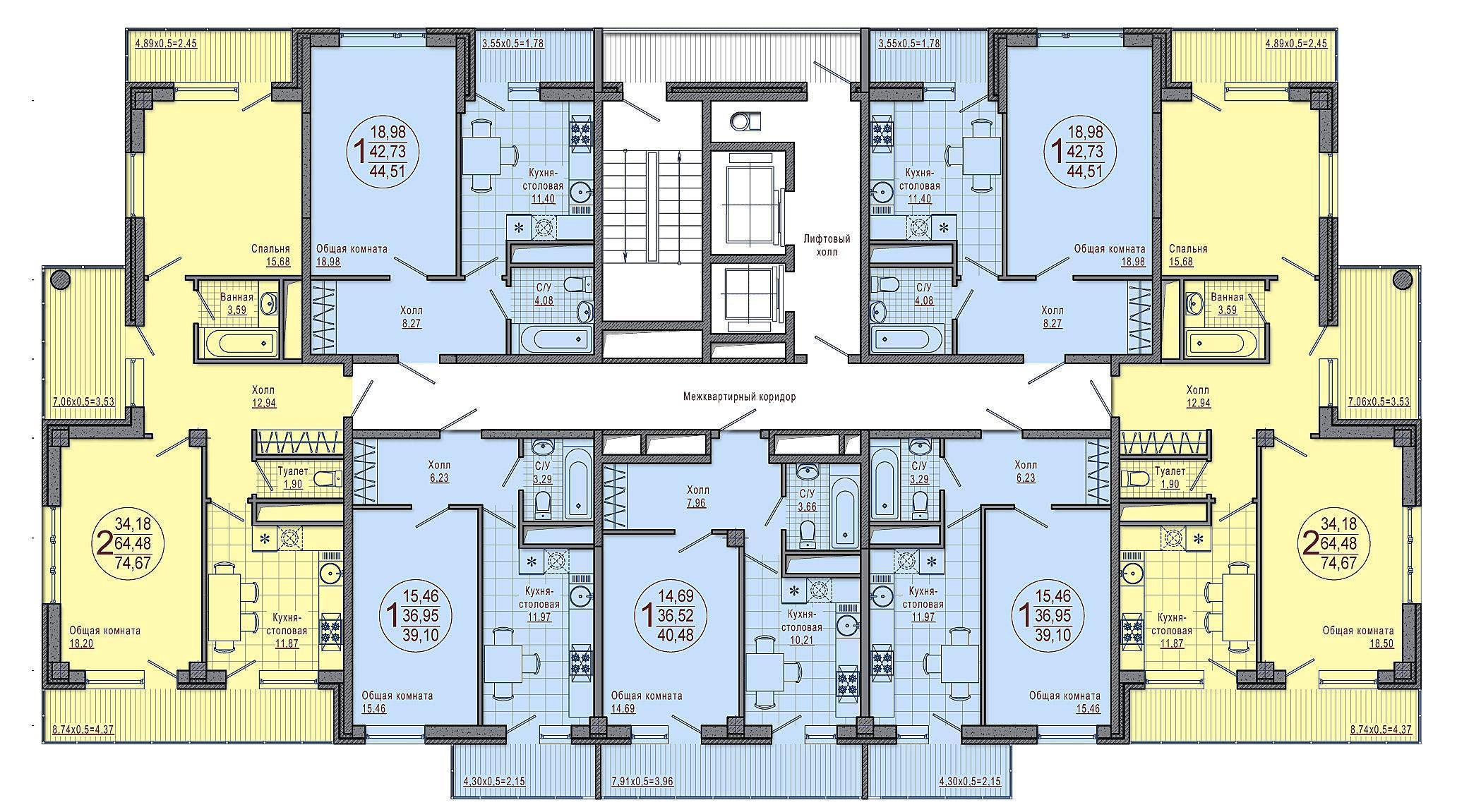 Планировки ЖК Империал, литеры 3 и 4 Краснодар | план - 1