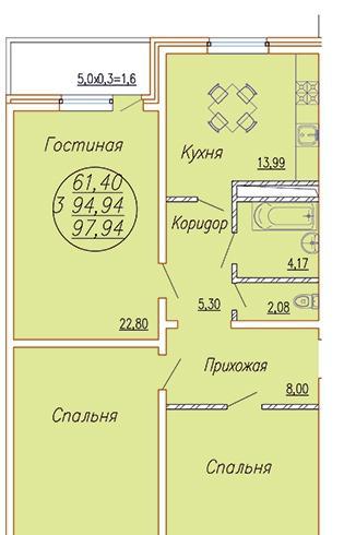 Планировки ЖК Каскад, ул.Леваневского Краснодар | план - 1