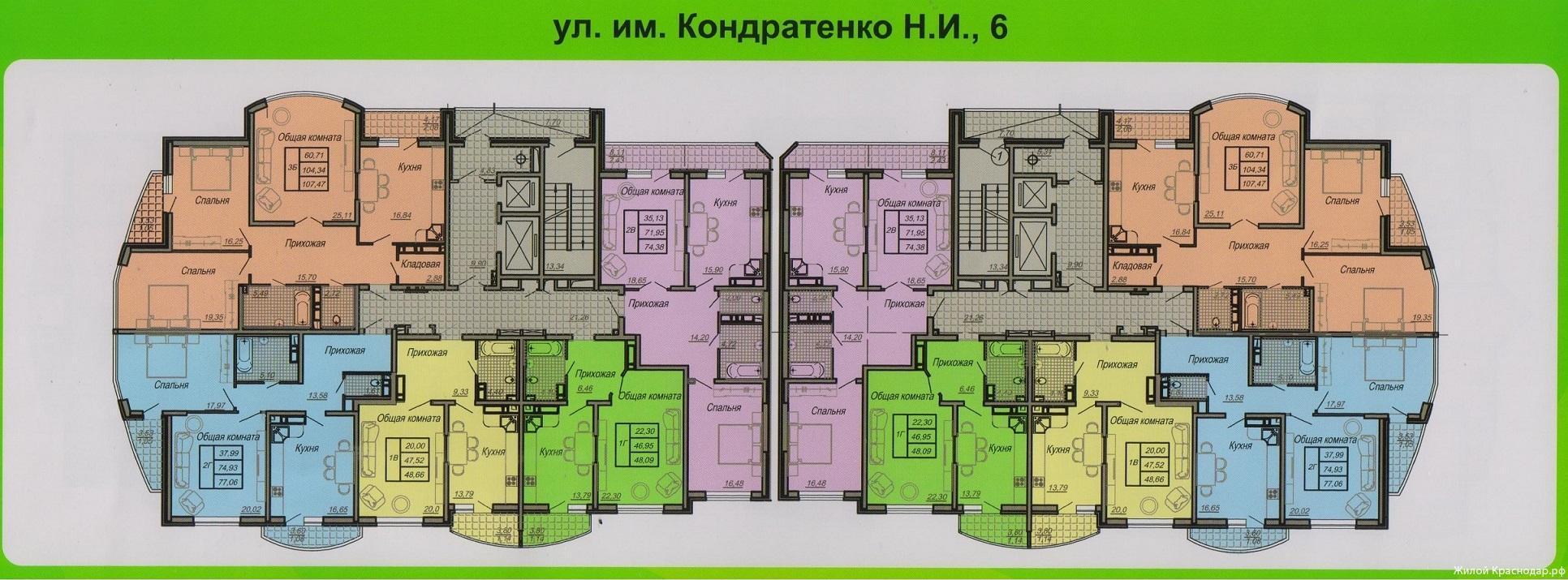 Планировки ЖК Кондратенко, 6 Краснодар | план - 1