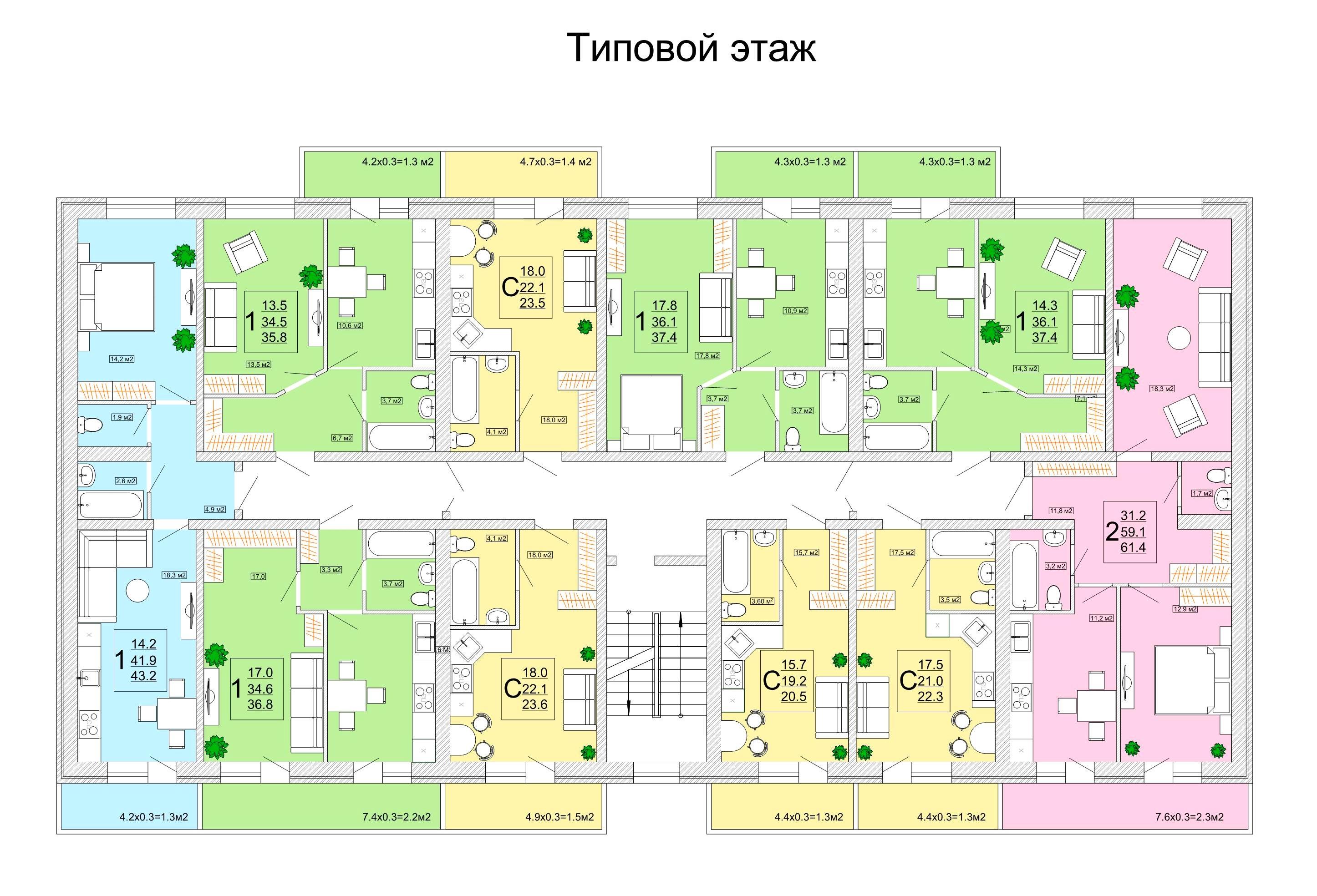 Планировки ЖК Кубанская крепость Краснодар | план - 1