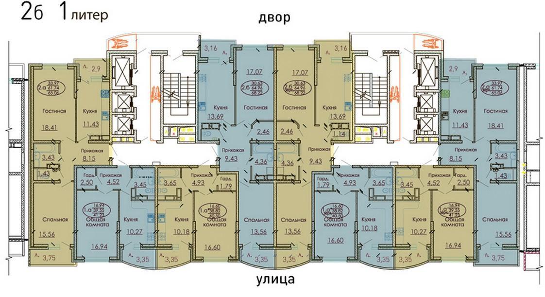 Планировки ЖК Москва, литер 1 Краснодар | план - 1