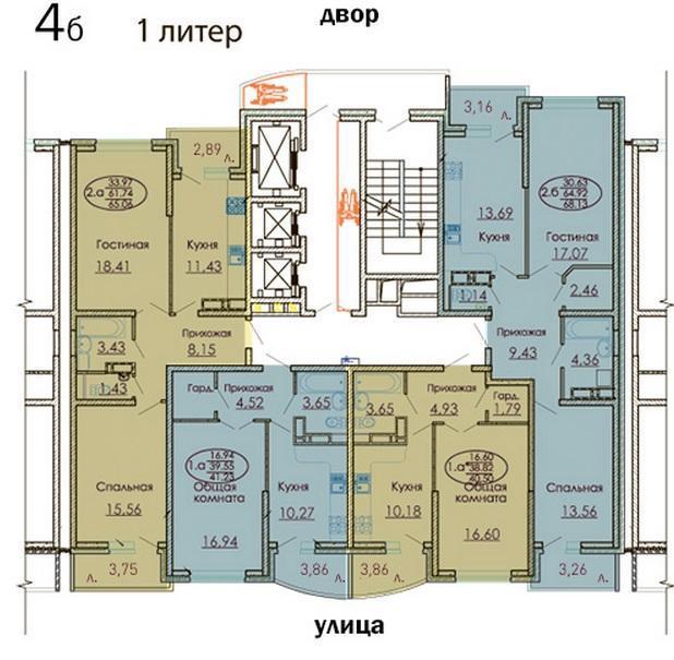Планировки ЖК Москва, литер 1 Краснодар | план - 4