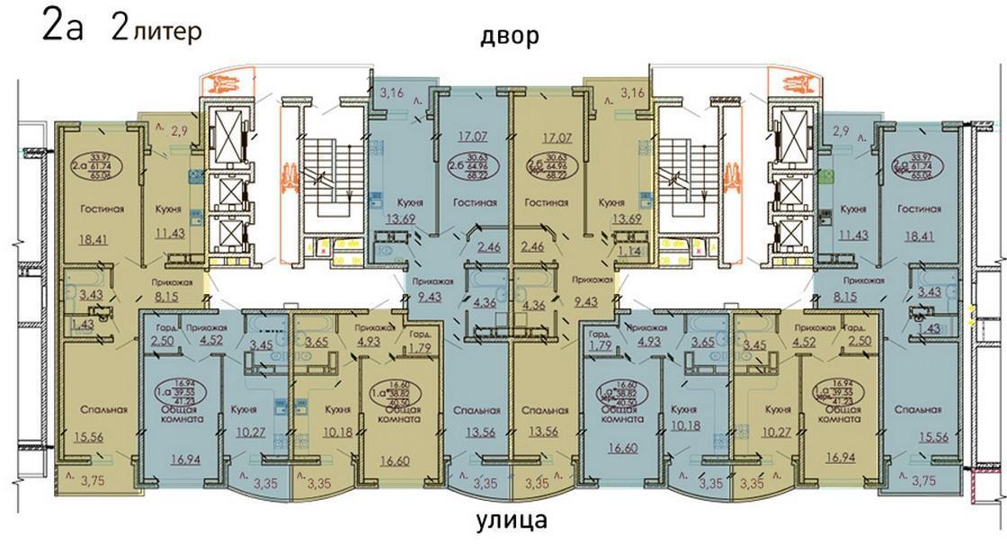 Планировки ЖК Москва, литер 2 Краснодар | план - 1