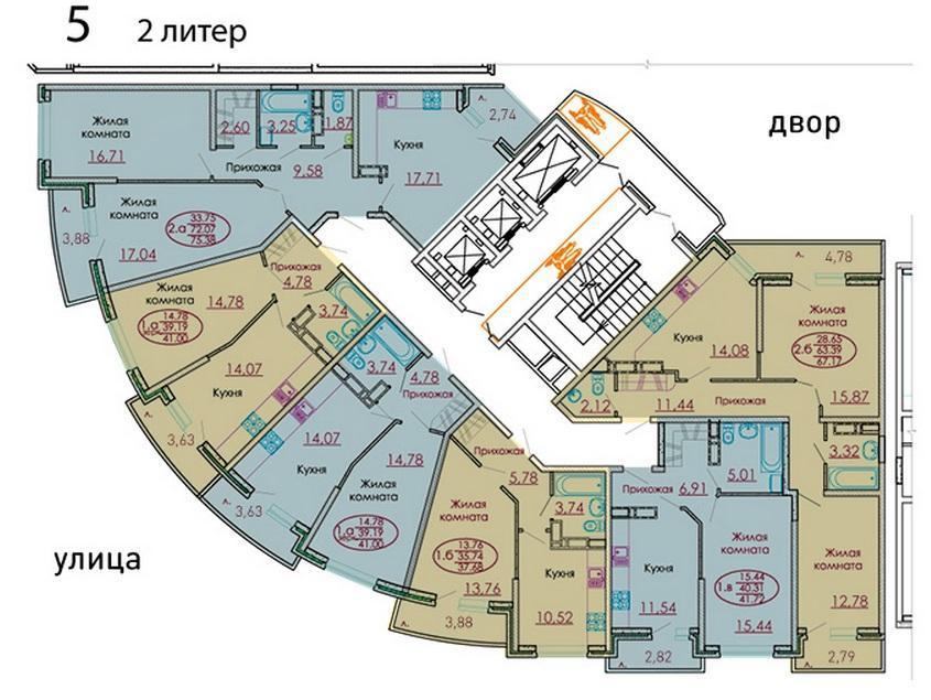 Планировки ЖК Москва, литер 2 Краснодар | план - 2