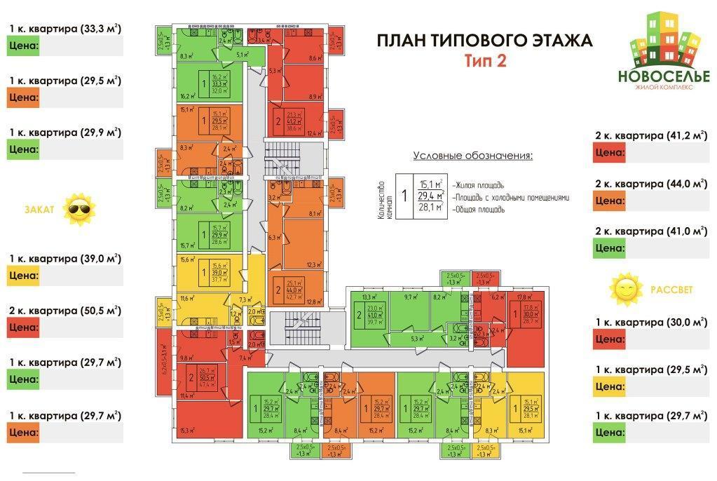 Планировки ЖК Новоселье Краснодар | план - 2