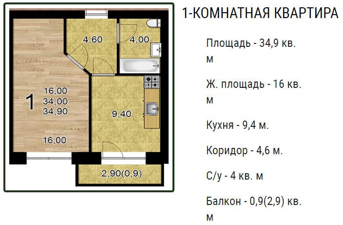 Планировки ЖК Оазис, этап 2 Краснодар | план - 4