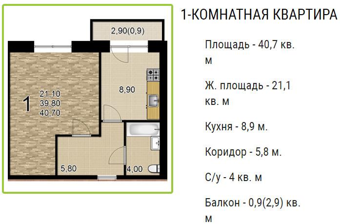 Планировки ЖК Оазис, этап 2 Краснодар | план - 7
