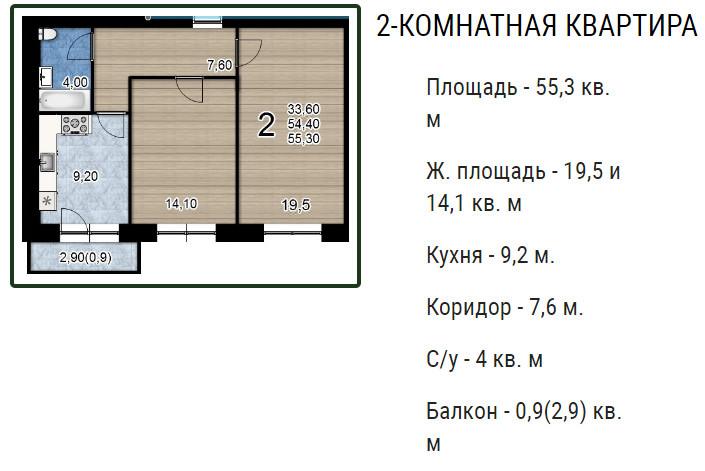 Планировки ЖК Оазис, этап 2 Краснодар | план - 8