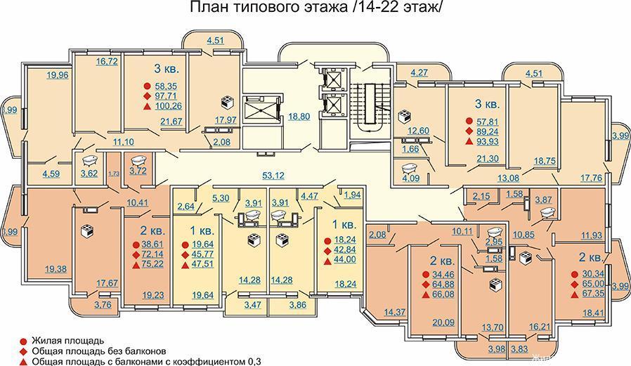 Планировки ЖК Премьер Краснодар | план - 1