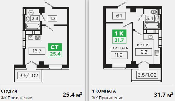 Планировки ЖК Притяжение Краснодар | план - 1
