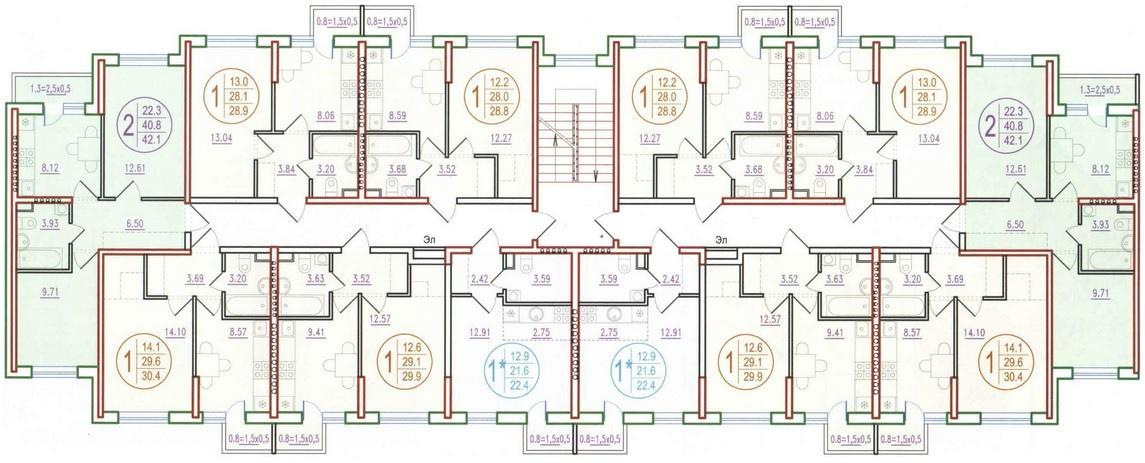 Планировки ЖК Прогресс литер 2.4 Краснодар | план - 1