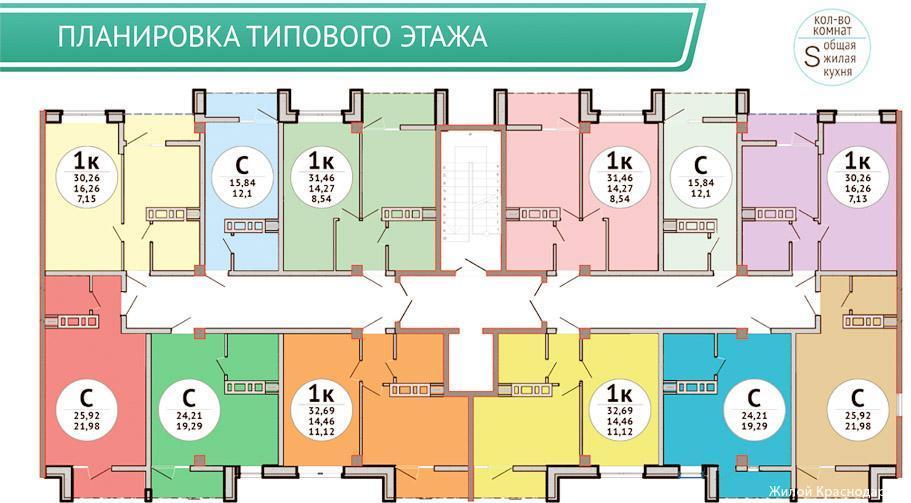 Планировки ЖК Просторы Краснодар   план - 1