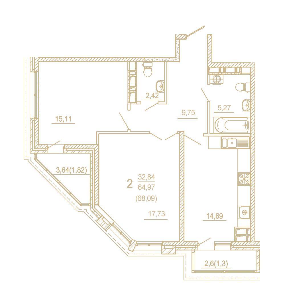 Планировки ЖК Пётр 1 Краснодар | план - 9
