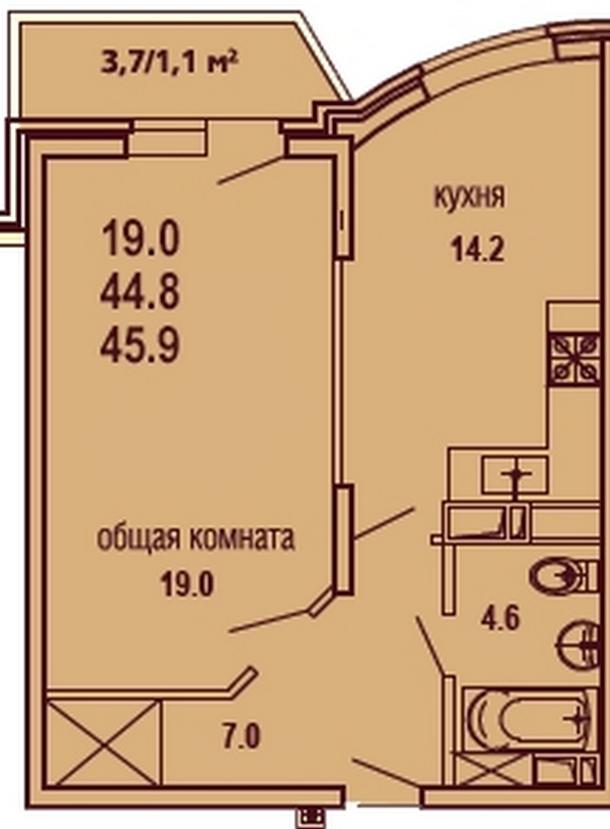 Планировки ЖК Речной бриз 1-к кв. 46 кв.м. Видовая на Кубань Краснодар   план - 1