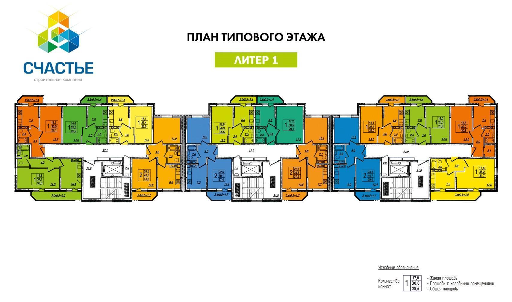 Планировки ЖК Счастье на Тургеневском Краснодар | план - 1