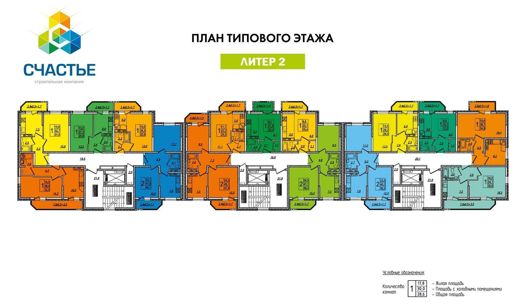 Планировки ЖК Счастье на Тургеневском Краснодар | план - 2