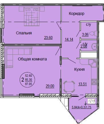 Планировки ЖК Седьмой континент Краснодар | план - 7